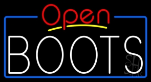 White Boots Open With Border Neon Sign