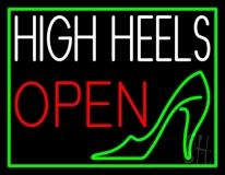 White High Heel Open Neon Sign