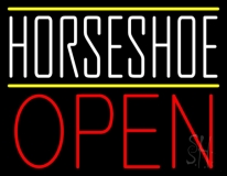 White Horseshoe Open Neon Sign