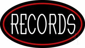White Records Red Border LED Neon Sign