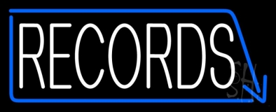 White Records With Blue Arrow 1 LED Neon Sign