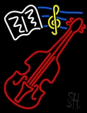 White Sheet Music Yellow Note and Red Violin Neon Sign