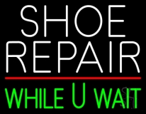 White Shoe Repair Green While You Wait Neon Sign