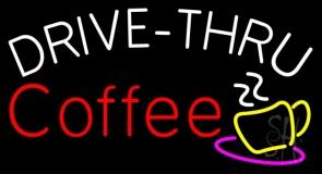 Drive Thru Coffee With Coffee Glass LED Neon Sign