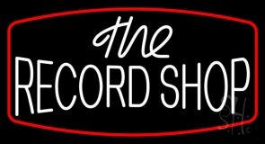 White The Record Shop Block Red Border LED Neon Sign