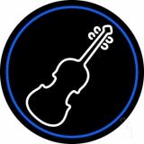 White Violin Blue Border Neon Sign