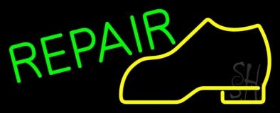 Yellow Boot Green Repair Neon Sign