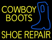 Yellow Cowboy Boots Shoe Repair Neon Sign