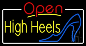 Yellow High Heels Open With White Border Neon Sign