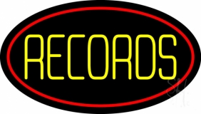 Yellow Records Red Border 2 LED Neon Sign