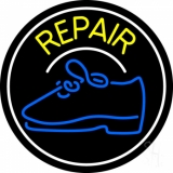 Yellow Repair Shoe With Border Neon Sign