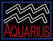 Aquarius Zodiac Blue Border Neon Sign