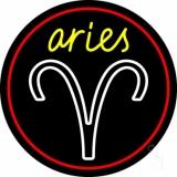 Aries Yellow Zodiac Border Red Neon Sign