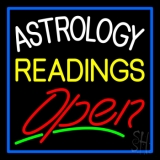 Astrology Readings Open And Blue Border Neon Sign