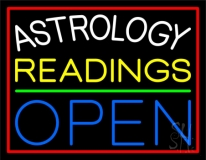Astrology Readings Open Red Border Neon Sign