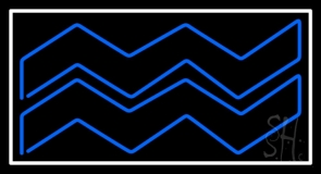 Blue Aquarius White Border Neon Sign