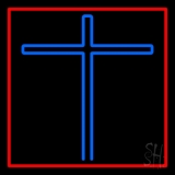 Blue Christian Cross Red Border Neon Sign