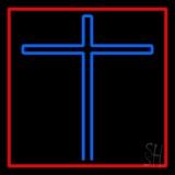 Blue Christian Cross Red Border Neon Sign
