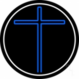 Blue Christian Cross White Border Neon Sign