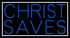 Blue Christ Saves Neon Sign