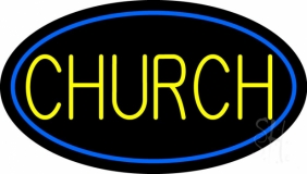 Blue Church LED Neon Sign
