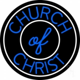 Blue Church Of Christ Block LED Neon Sign
