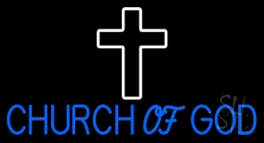 Blue Church Of God LED Neon Sign