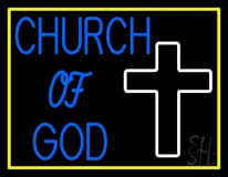 Blue Church Of God With Border LED Neon Sign