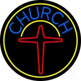 Blue Church With Cross Logo LED Neon Sign