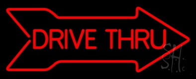 Drive Thru With Arrow Neon Sign
