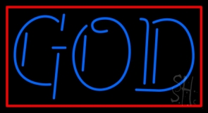 Blue God With Border LED Neon Sign