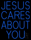 Blue Jesus Cares About You LED Neon Sign