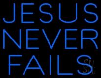 Blue Jesus Never Fails LED Neon Sign