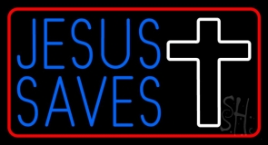 Blue Jesus Saves White Cross Neon Sign