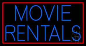 Blue Movie Rentals With Border Neon Sign