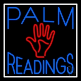 Blue Palm Readings With Red Palm Neon Sign