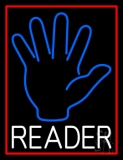Blue Palm White Reader Red Border Neon Sign