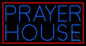 Blue Prayer House Neon Sign