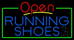 Blue Running Shoes Open Neon Sign