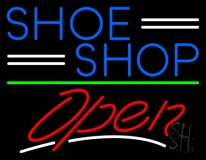 Blue Shoe Shop Open Neon Sign