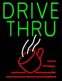Green Drive Thru With Coffee Glass LED Neon Sign