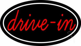 Cursive Drive In With Border Neon Sign