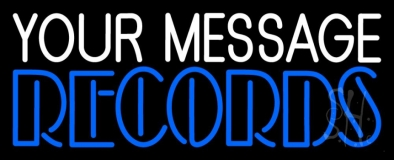 Custom Blue Double Stroke Records LED Neon Sign