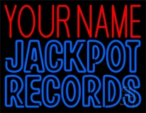 Custom Blue Jackpot Records Block Neon Sign