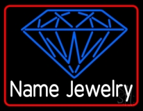 Custom Blue Jewelry Red Border Neon Sign