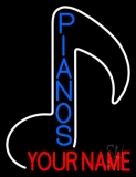 Custom Blue Pianos Vertical Neon Sign