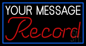 Custom Cursive Records Red Border Blue Neon Sign