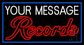 Custom Cursive Red Records Blue Border Neon Sign