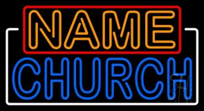 Custom Double Stroke Church With Border Neon Sign