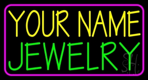 Custom Green Jewelry Pink Border Neon Sign